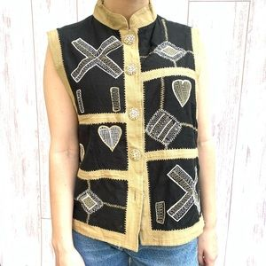 VINTAGE EMBROIDERED VEST BUTTON DOWN  BLACK SIZE S